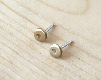 Antiqued Brass Earrings, Brass Dot Earrings, Heart Earrings, Tiny Earrings, 4mm Dots, Stamped Earrings, Stud Earrings, Dot Earrings, Brass