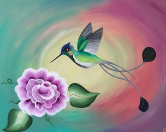 """Hummingbird Marvelous Spatuletail 11""""x14"""" acrylic painting on canvas, colorful Peruvian bird over teal, pink, coral, yellow and purple"""