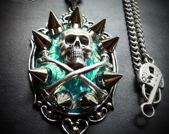 Custom Spiked Skull Necklace // Spike Necklace // Gothic Jewelry // Punk Jewelry