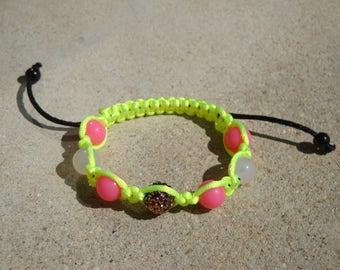 Shamballa bracelet neon yellow and pink, 7 beads, Rhinestones, child, girl