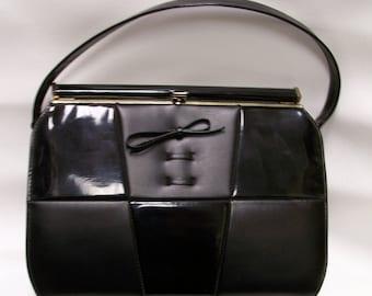Vintage 1950's Kelly Style Purse Black patent leather