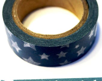 Country Blue with White Stars Washi Tape