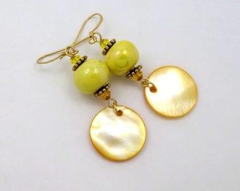 Earrings Bohemian yellow gold, ceramic, Pearl, Swarovski Crystal, brass