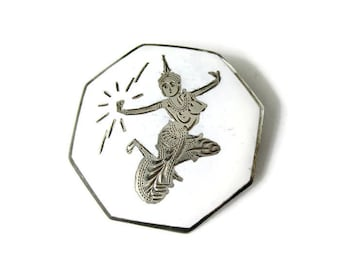 Vintage Siam silver brooch, silver and white brooch, vintage silver brooch, goddess brooch