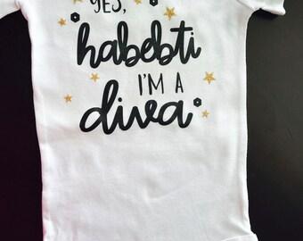 Habibti onesie, habebti bodysuit, Arabic baby bodysuit, Arabic baby onesie