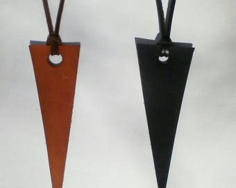 Leather necklace with triangle pendant