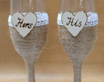 Wedding Glasses Champagne Toasting Glasses Burlap Lace Rustic Flutes