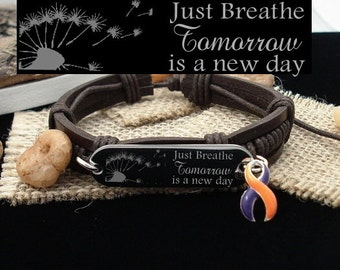 OP-4 Add Adhd Awareness CRPS Bracelet Boho Stacking Jewelry For Women Psoriatic Arthritis Ramsay Hunt Just Breathe Leather Bracelet For Men