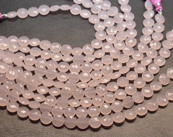 AAA 8 Inch All Pairs 10mm Rose Chalcedony Faceted Coin Shape Briolette Beads Strand-21 Beads