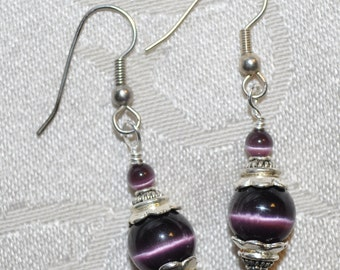 Purple Earrings - made with Sterling Silver and Cat's Eyes