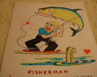 Vintage Fifties Paper Valentine FISHERMAN