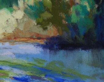 River Shoal - 3 1/2 x 2 1/2 - ACEO -Pastel