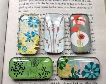Flower Magnet Set, Domino Glass Magnets, Floral Fridge Magnets, Office Magnets, Flower Magnets, Glass Tile Magnets, Cute Magnets, Handmade