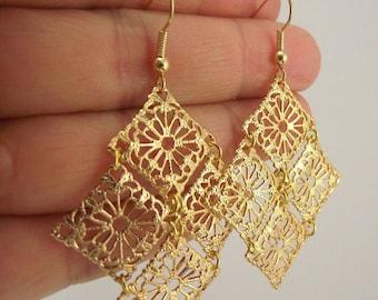 Medium Golden Chandelier Earrings, Statement Gold Earrings, Wedding Gift, Bride, Bridesmaid Gift, Gift for her