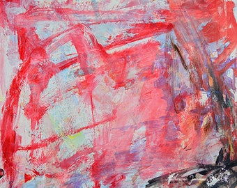 Red and White Abstract Painting Print. White Abstract Digital Print. Housewarming Gift for Her Home Office. Gift for Dad