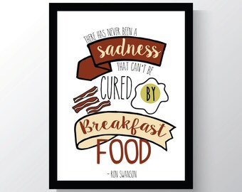 Ron Swanson Breakfast - Parks And Recreation - Leslie Knope Quote - Cheap Home Decor - 8x10 photo print - Kitchen  Decor - Galentines Day