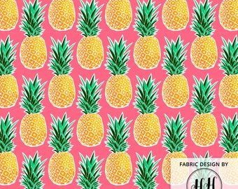 Tropical Pineapple Fabric by the Yard - Pink Geometric Hawaiian Pineapple Print in Yard & Fat Quarter