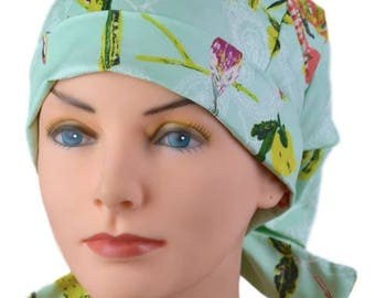Scrub Hats // Scrub Caps // Scrub Hats for Women // The Hat Cottage // Small // Fabric Ties // Butterfly Garden