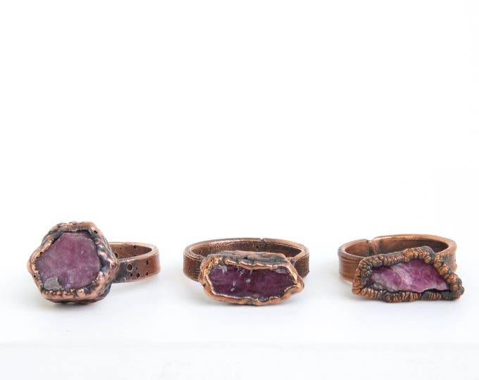 Made to Order - Raw Ruby Ring - Boho Ring - Copper Ring - Electroformed Ring