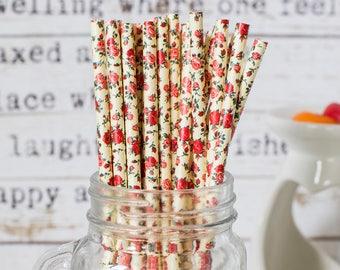 Roses On Yellow Paper Straws, Beautiful Straws for Wedding or Birthday Celebration, Roses Straws, Rose, Paper Straws, Wedding Straws