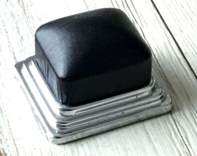 Antique Ring Box Art Deco Silver Chrome Leatherette Black Velvet