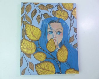 8×10 acrylic painting original art girl's face with leaves blue and yellow wall art home decor blue eyes feminine painting pretty girl face