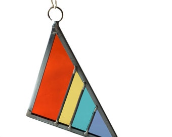 Stained Glass Triangle - Light Rainbow Large