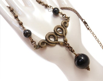 Snakes on a Chain, Snake Necklace, Snake Pendant, Black Necklace, Goth, Large Black Stone Necklace, Serpent Necklace