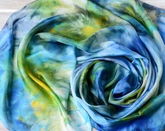 Blue short silk scarf -17x63in chunky yellow hair scarf - Neck Wrap - silk women scarves