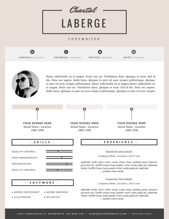 3 Page Resume Template | CV Template + Cover Letter for MS Word and Pages | Stylish Resume Design | Fashion Template | Instant Download