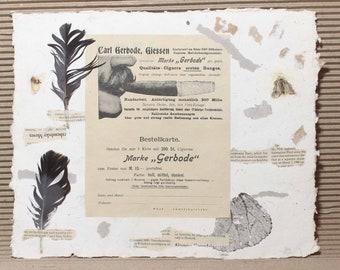 Handmade paper, Cotton rag Paper, Deckle Edge Paper, Deckled Edge Paper, made by hand, collage,сигара, немецкая реклама, 19 век
