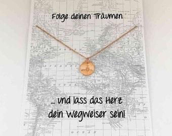 Compass card, pendant necklace 12mm Rosé gold