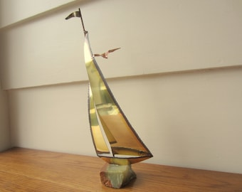 Brass and Copper Sailboat on an Agate Base.