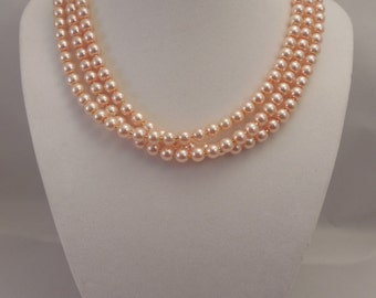 Very Elegant, Wedding Bridal Three Strand, Half Twisted Necklace with 6mm Blush Pink Glass Pearls