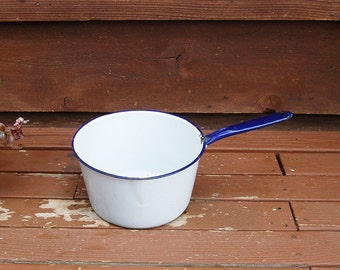 Enamelware Pot, Vintage Blue and White Enamel Pot, Enamelware pan