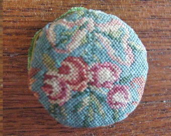 Dollhouse Miniature Petit Point Pillow--1 inch Round Ribbon and Roses
