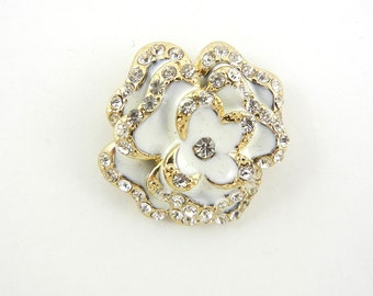 Gold-tone Rose Pendant with White Epoxy and Rhinestones Double link