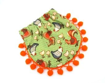 Squeeze coin pouch, flex frame purse with orange pom pom fringe trim, mini round bag fabric with chicken print