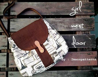 PDF pattern -  handbag / shoulder bag with a secret pocket. Casual style. Easy and quick to make. Loads of photos.