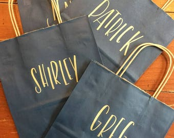 Personalized Custom Gift Bag, Navy Bag playful block letter style, Hand-lettered, Customized, Bridesmaid Gift, Groomsmen, Christmas, Holiday