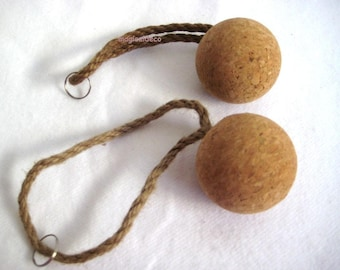2x floating key chain ball cork with rope