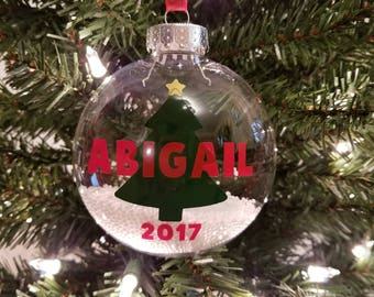 Personalized Christmas 2017 Ornament With Snow