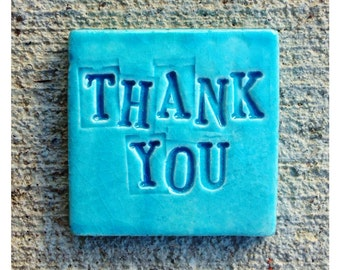 TURQUOISE THANK YOU Tile