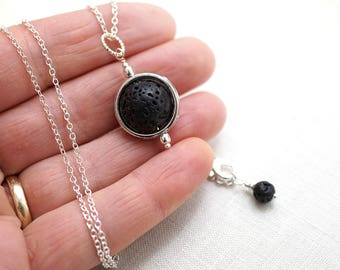 Raw Stone Necklace Essential Oil Diffuser Necklace Lava Necklace Planet Necklace Full Moon Necklace Big Orb Jewelry Aromatherapy Necklace