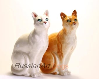 cat porcelain figurine,  statuette