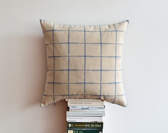 Decorative Modern Plaid Pillow Cover - Ivory, Blue Plaid Cushion Cover - 20x20 Decorative Pillow Case - Checkered Pillow