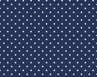 SALE White Swiss Dot on Navy - Riley Blake Swiss Dots C670-21 Navy - 1 Yard Cut - Navy Blue Polka Dot Fabric - Quilter's Cotton BTY