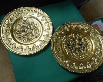 "Pair Brass WALL PLAQUES ""Tavern"" Design"