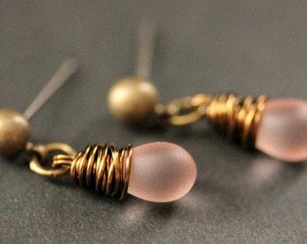 BRONZE Earrings - Frosted Pink Teardrop Earrings. Dangle Earrings. Post Earrings. Handmade Jewelry.