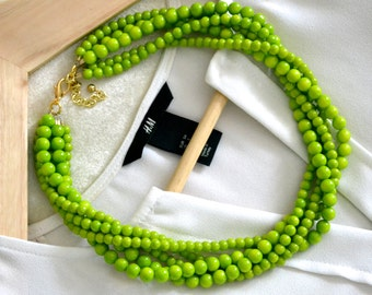 The Ella Green Statement Necklace, Layered Statement Necklace, Multistrand Necklace,  Beaded Statement Necklace, Chunky Green Necklace